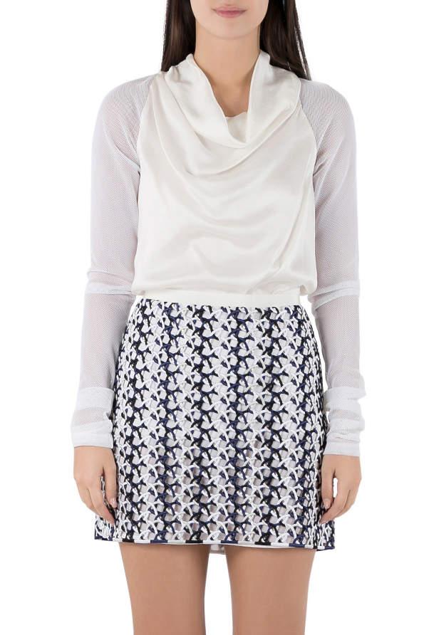 Vera Wang Collection Cream Silk Satin Cowl Neck Mesh Sleeve Blouse S