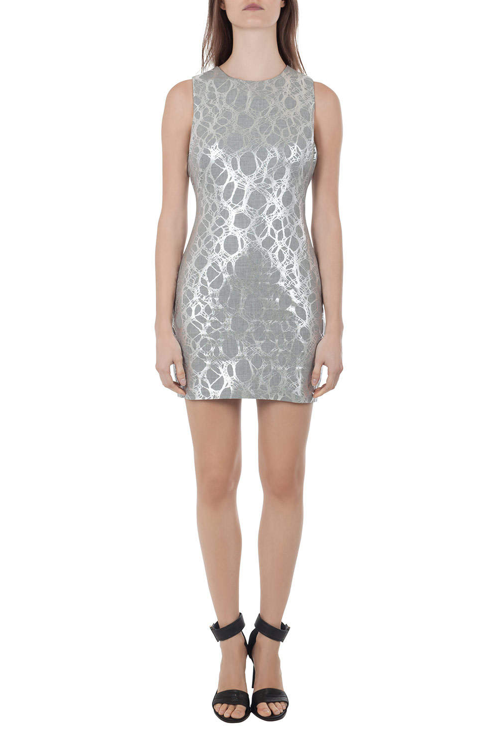 Elizabeth and James Heather Grey and Silver Foil Print Sleeveless Nadia Sheath Dress M
