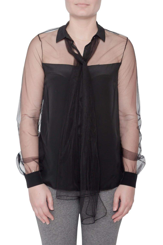 قميص جيسون وو حرير شفاف أسود حواف تول بفيونكة مزينة أزرار أمامية مخفية  S