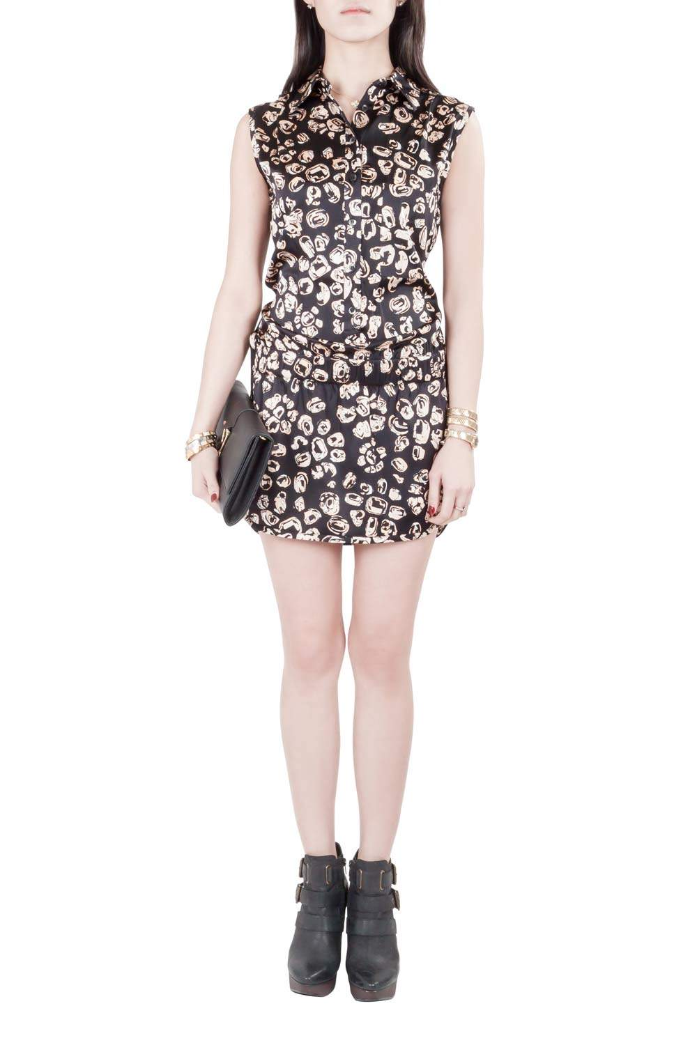 Thakoon Addition Black and Blush Silk Abstract Print Shirt Top Playsuit XS
