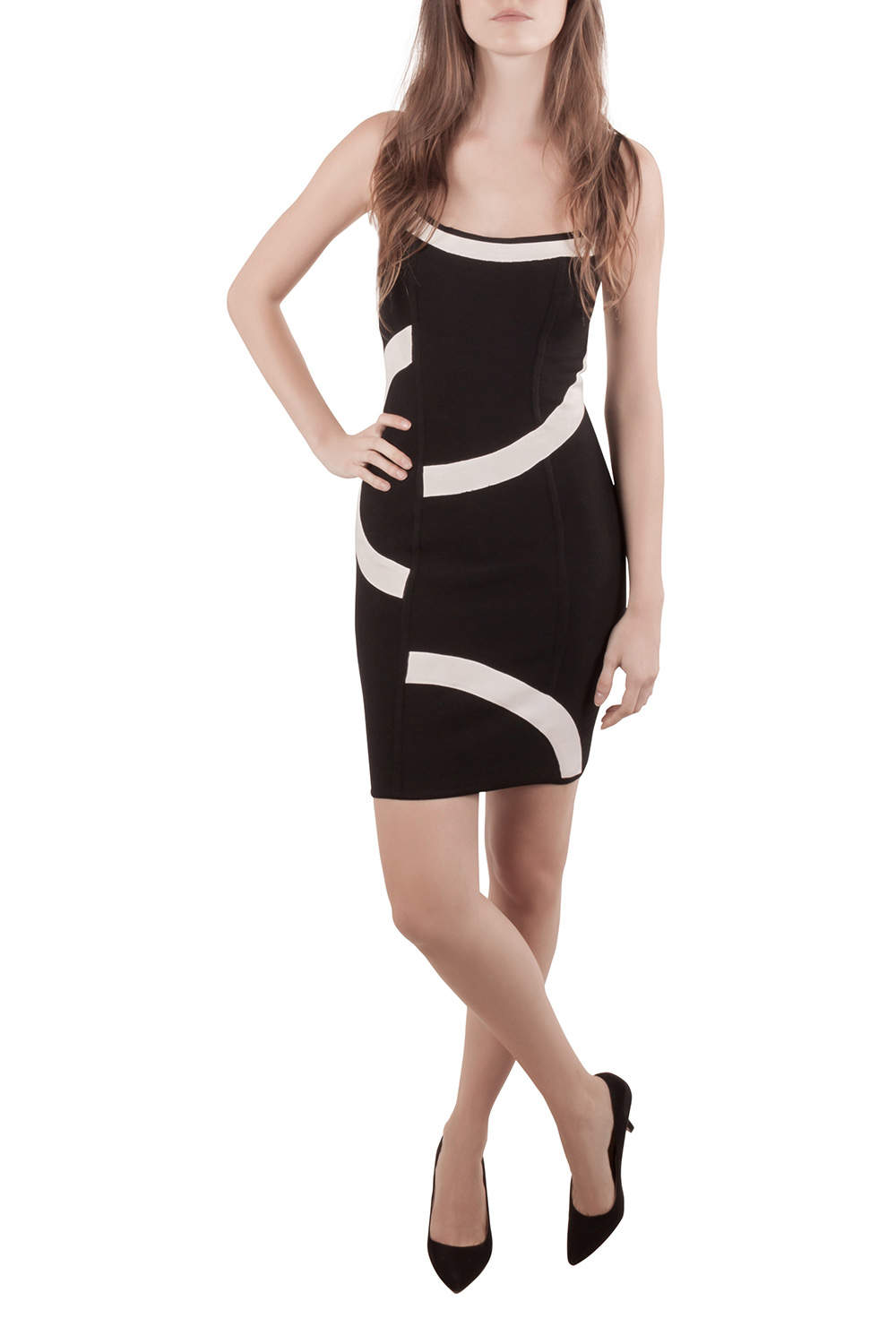 Herve Leger Monochrome Patterned Knit Sleeveless Bandage Dress S