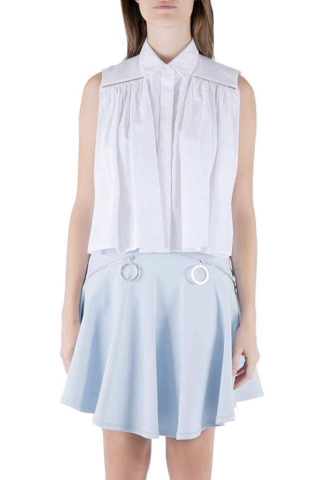 Christopher Kane White Cotton Metal Bar Embellished Sleeveless Shirt M