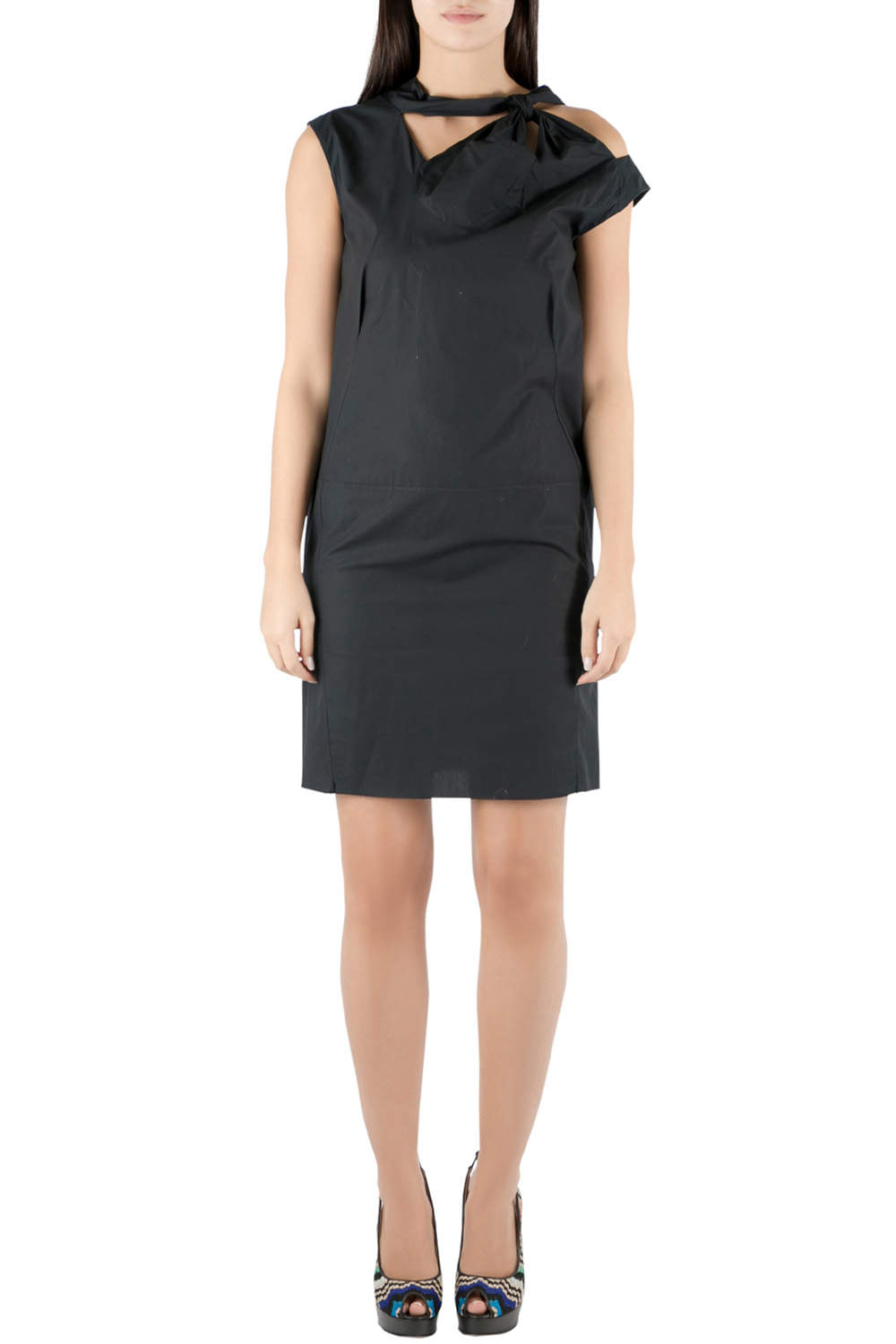 Marni Black Cotton Bow Knot Detail Shift Dress XS