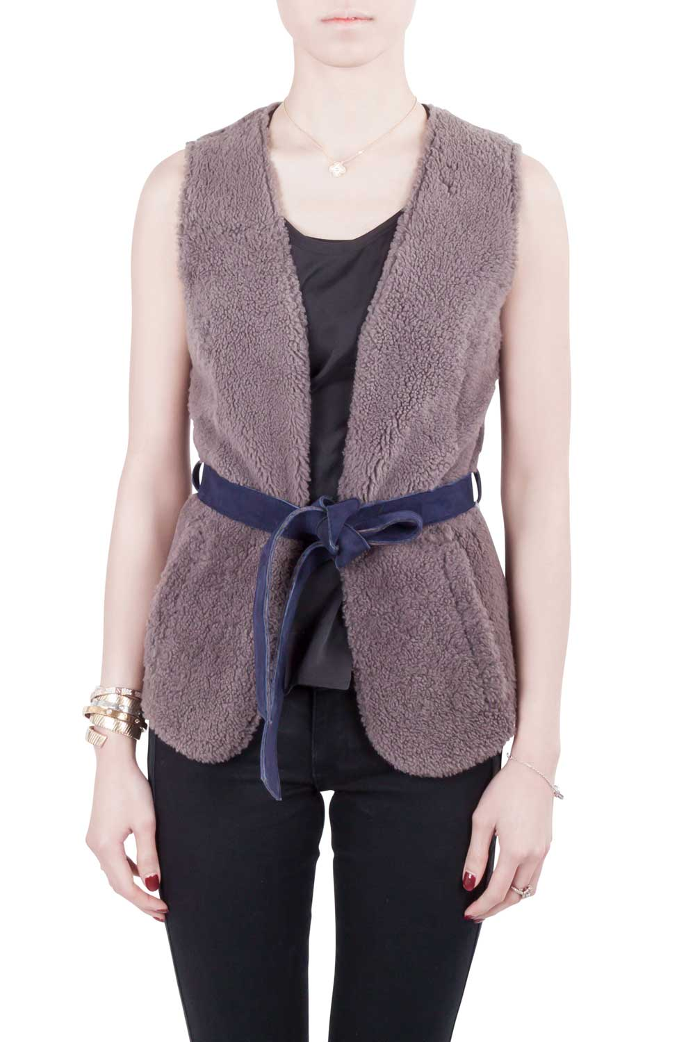 Moschino Cheap and Chic Gray Lamb Fur Leather Lined Belted Gilet S