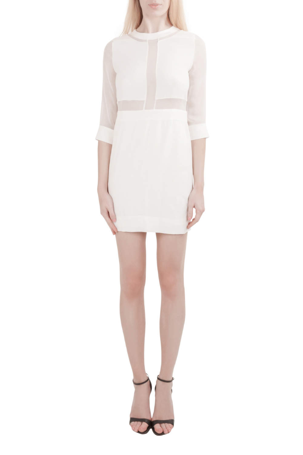 IRO White Silk Crepe Panelled Tina Mini Dress S