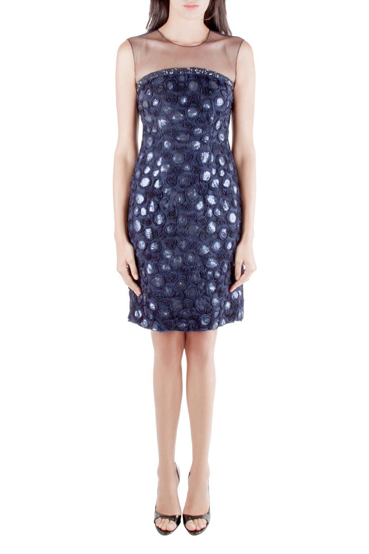 Mikael Aghal Navy Blue Rosette Applique Embellished Sheer Yoke Sleeveless Dress S