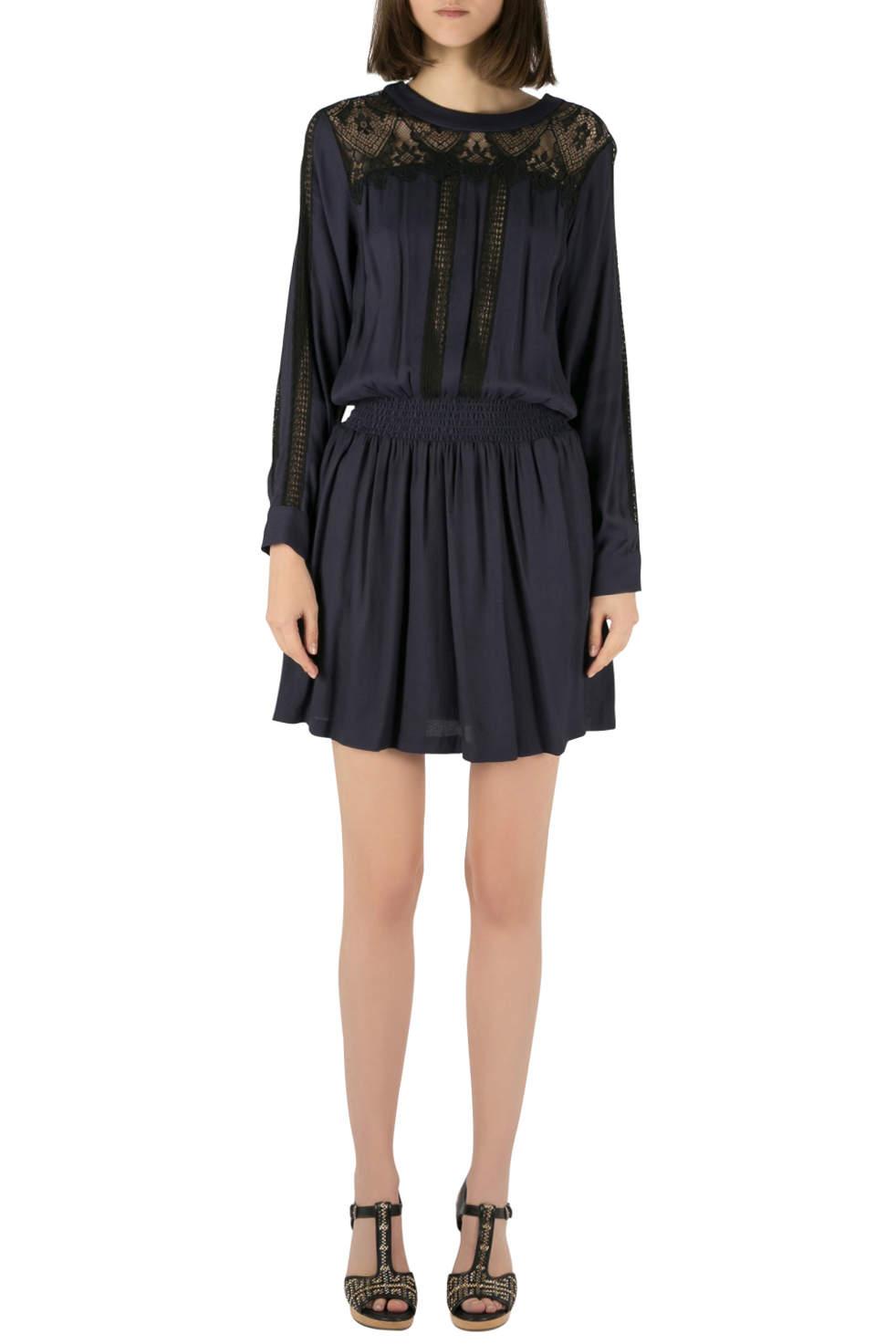 فستان سي كريب أزرق كحلي دانتيل S