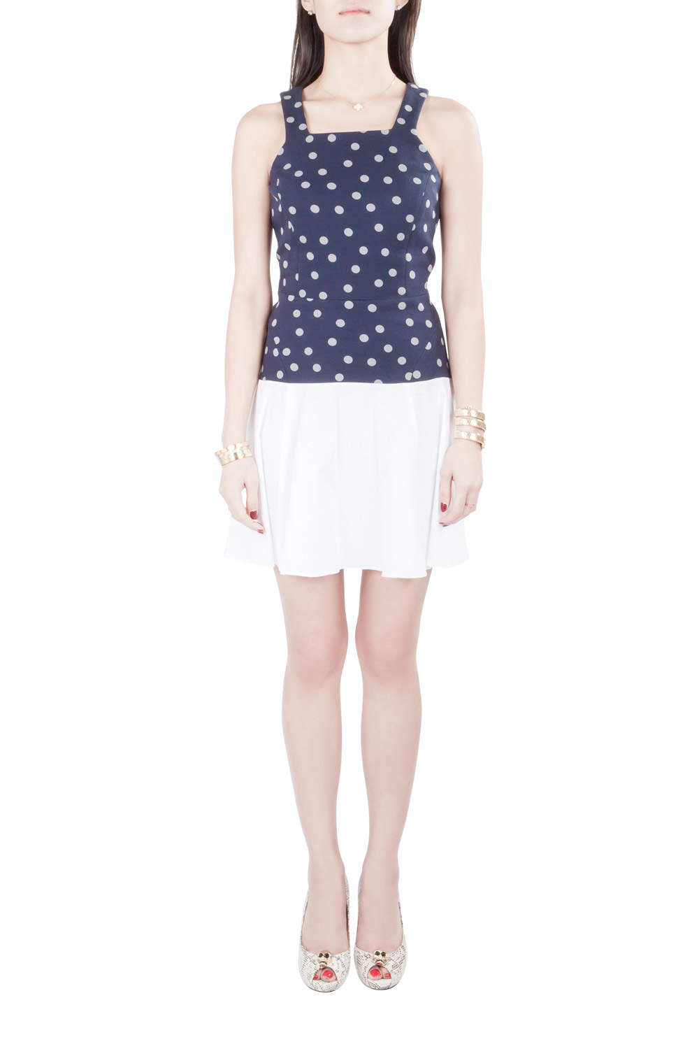Thakoon Addition Navy Blue and White Polka Dot Cotton Sleeveless Flared Dress XS