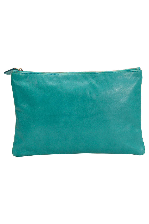 Jil Sander Aqua Green Leather Clutch