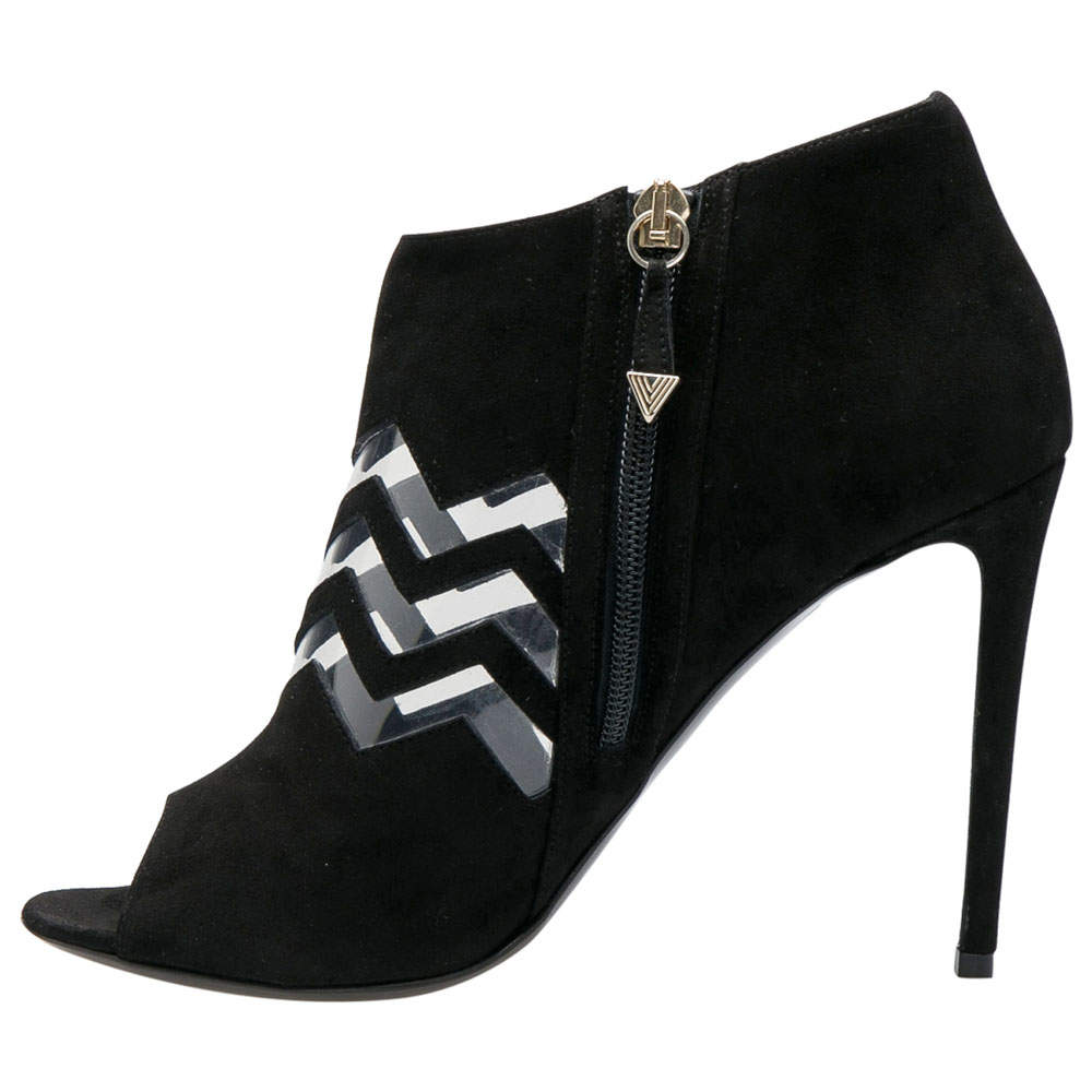 Nicholas Kirkwood Black Suede And PVC Chevron Peep Toe Ankle Booties Size 38.5