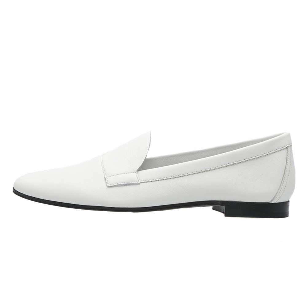Pierre Hardy White Leather Jacno Slip On Loafers Size 37