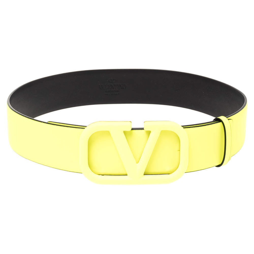 Valentino Neon Yellow Leather Vlogo Belt Size 75 cm