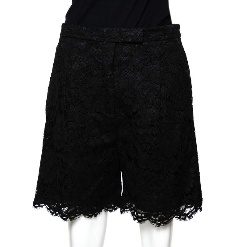 Valentino Black Corded Floral Lace Shorts M