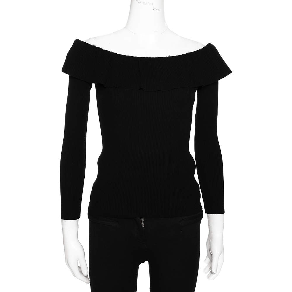 RED Valentino Black Jersey Rib Off Shoulder Frill Detail Top S