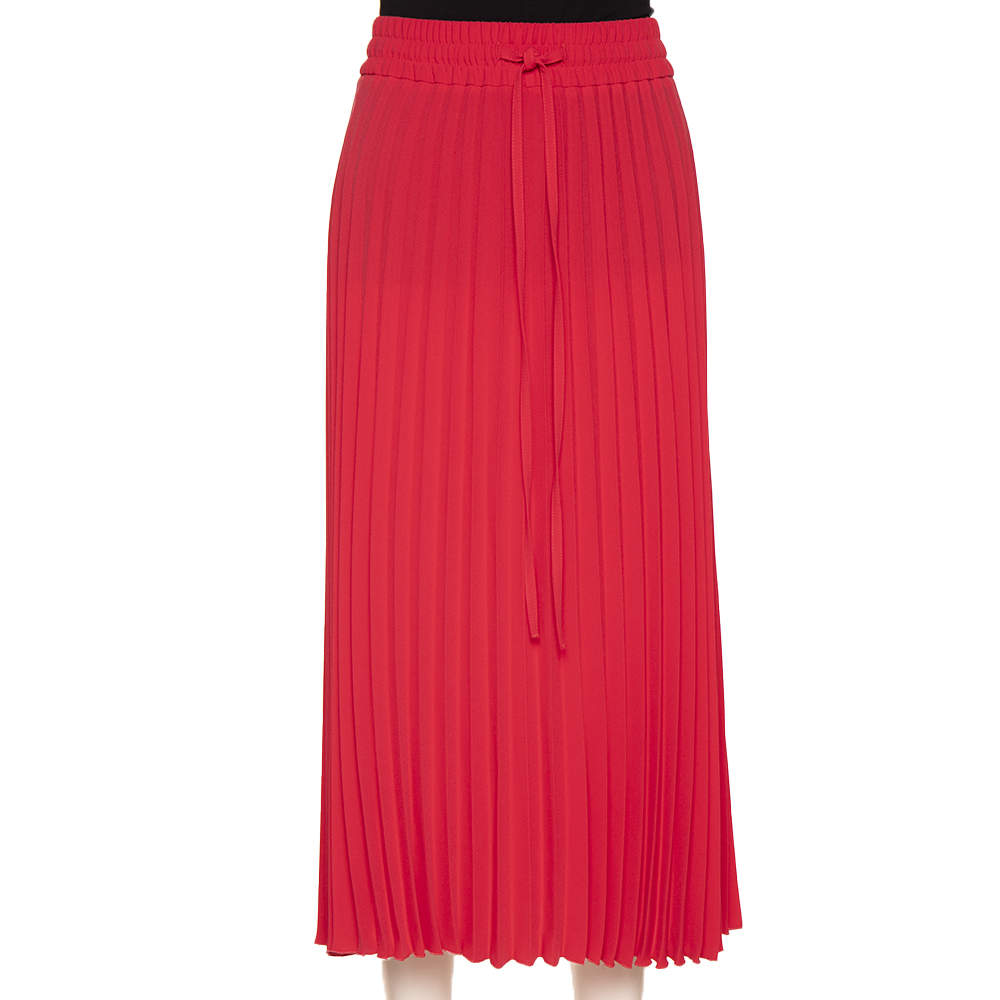 RED Valentino Pink Pleated Midi Skirt M