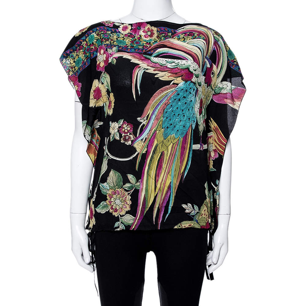 RED Valentino Black Silk Bird of Paradise in the Forest Print Blouse M