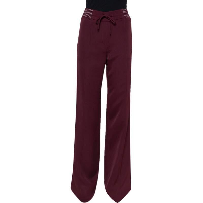 Valentino Burgundy Jersey Paneled Wide Leg Trousers S