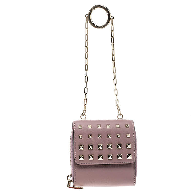 Valentino Beige Leather Rockstud Degrade Coin Purse