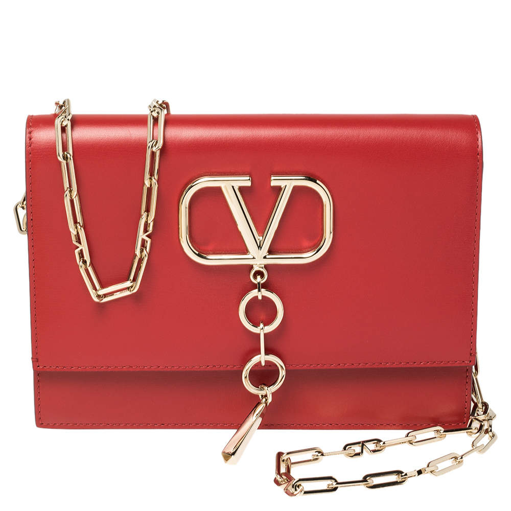 Valentino Rouge Leather Small Vcase Shoulder Bag