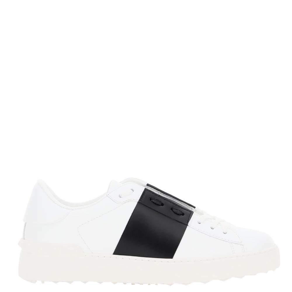 Valentino Garavani White/Black Leather Open Sneakers Size 37