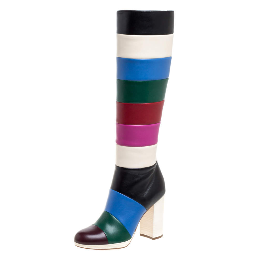 Valentino Multicolor Leather Colorblock Zip Knee Length Boots Size 37