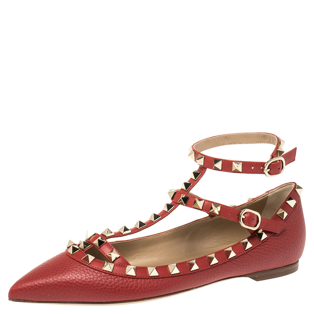 Valentino Red Leather Rockstud Embellished Ankle Strap Pointed Toe Ballet Flats Size 38