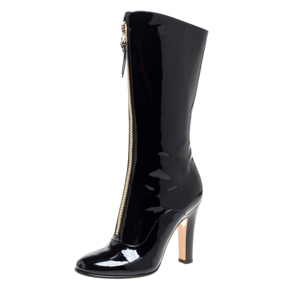 Valentino Black Patent Leather Zip Detail Mid Calf Boots Size 38