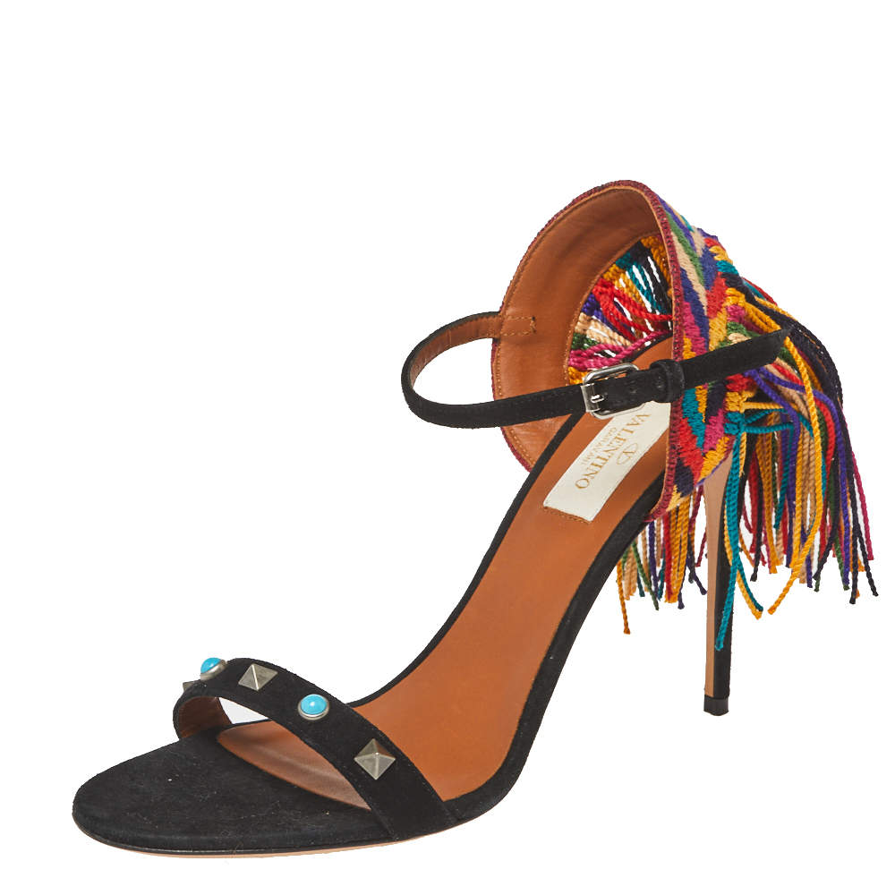 Valentino Black Suede And Multicolor Cotton Lace Fringe Studded Ankle Strap Sandals Size 37
