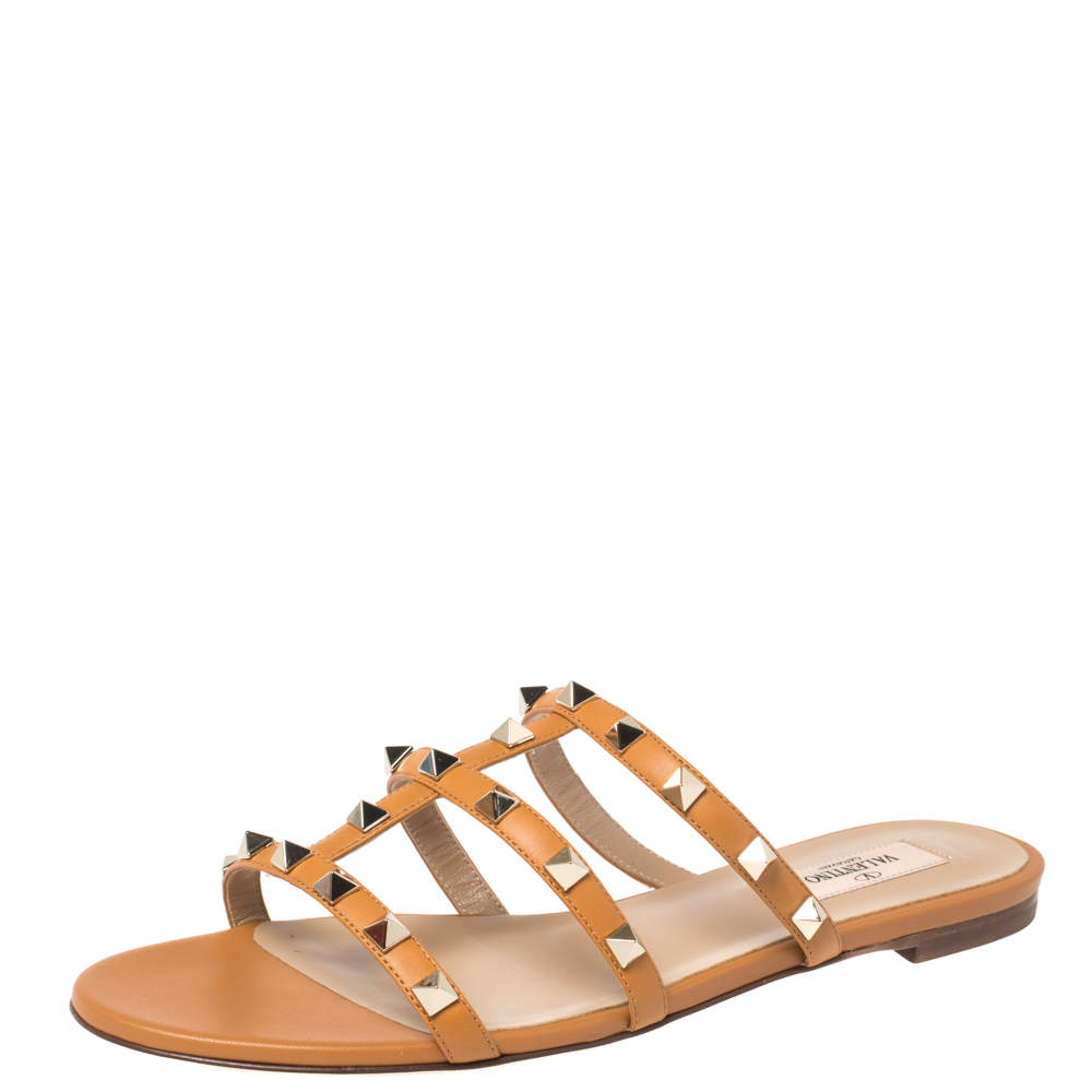 Valentino Tan Leather Rockstud Flat Slides Size 38