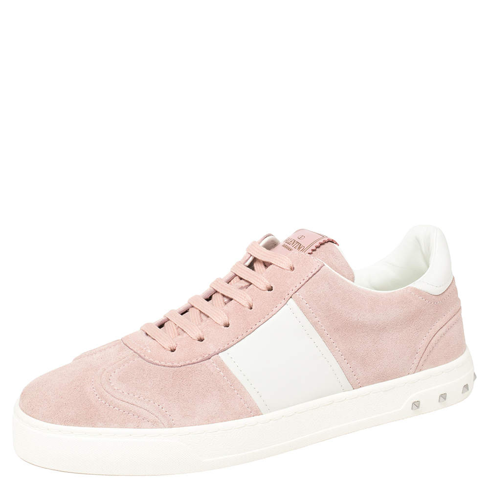 Valentino Loto Pink/White Suede and Leather Fly Crew Low Top Sneakers Size 40