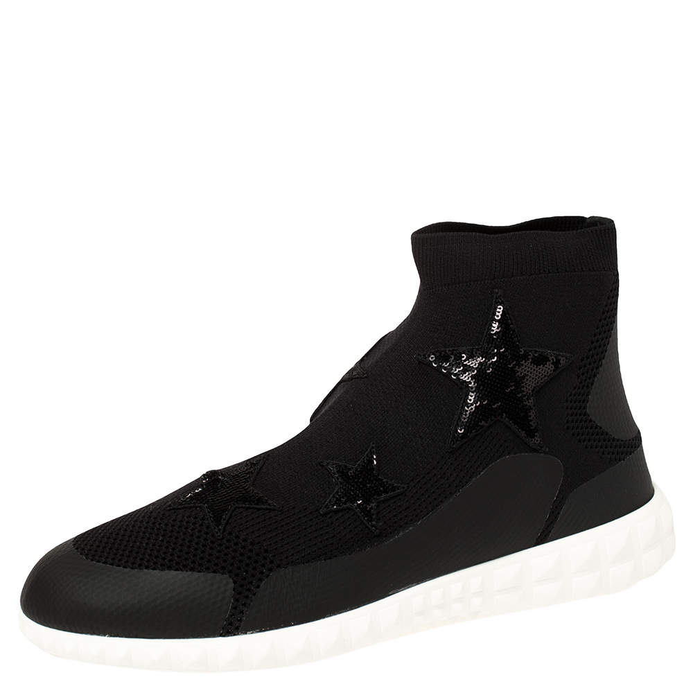 Valentino Black Stretch Knit and Sequins Star Embellished High Top Sneakers Size 38
