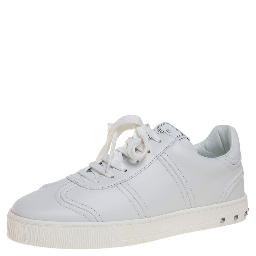 Valentino White Leather Rockstud Fly Crew Sneakers Size 39.5