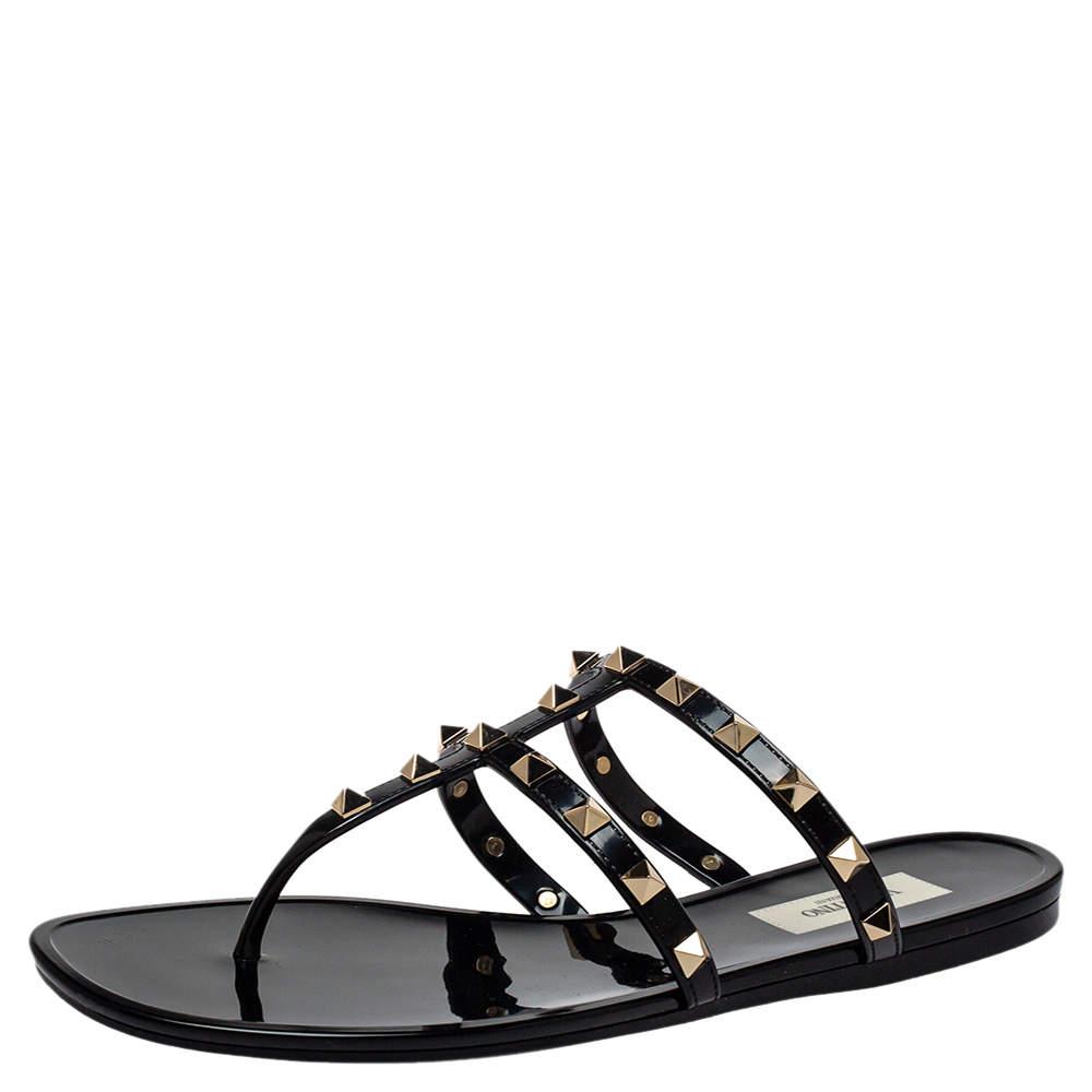 Valentino Black Patent Leather Rockstud Thong Sandals Size 39