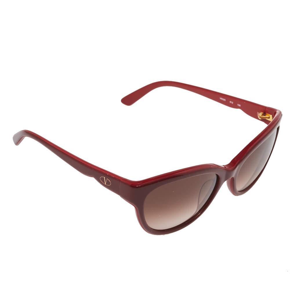نظارة شمسية فالنتينو عين قطة مستديرة في602أس متردجة بني/ عنابي