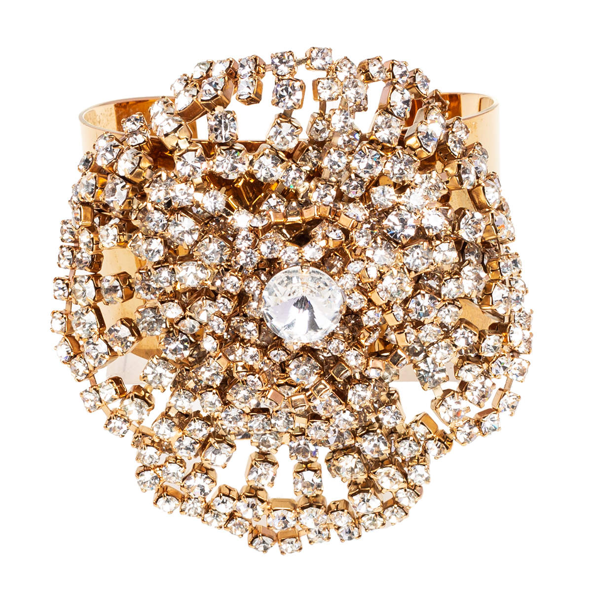 Valentino Crystal Camellia Flower Gold Tone Cuff Bracelet