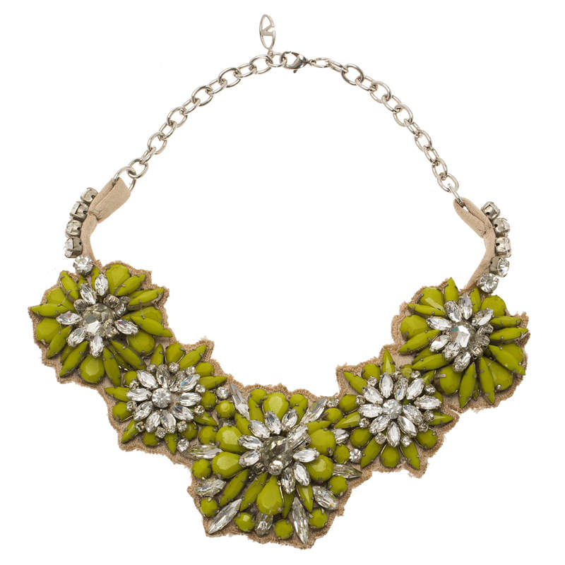 Valentino Fluoro Flowers green Crystal Silver Tone collar Necklace