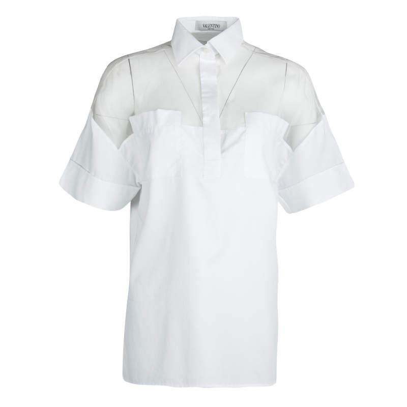 Valentino White Cotton Sheer Yoke Detail Short Sleeve Shirt S