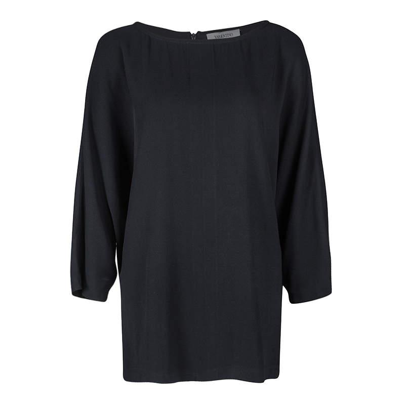 Valentino Black Short Sleeve Oversized Blouse M