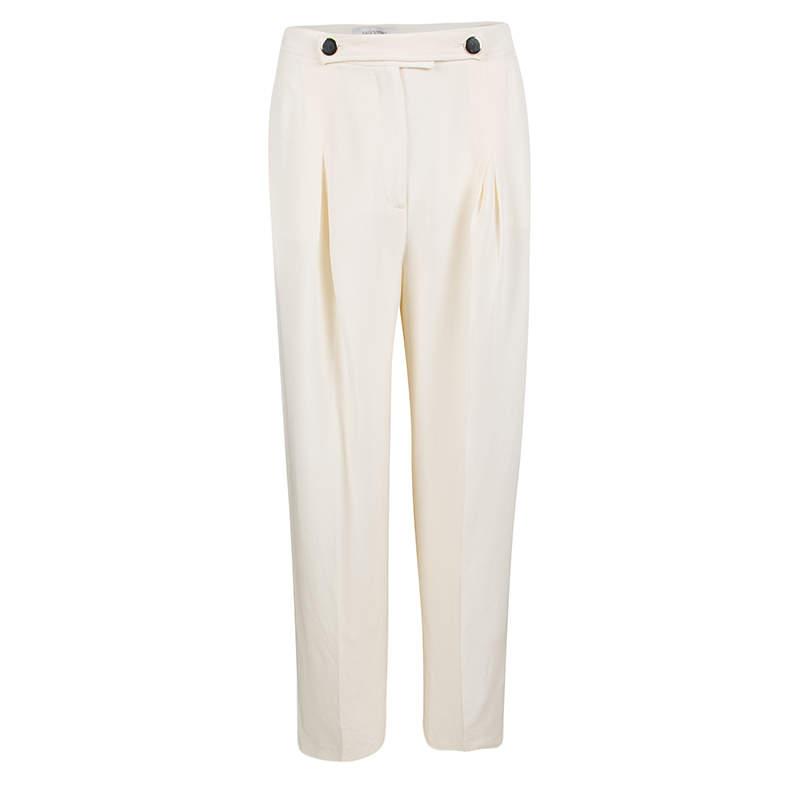 Valentino Cream Silk High Waist Wide Leg Trousers S