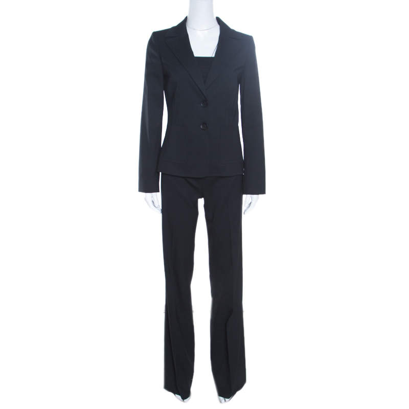 Valentino Black Wool Tailored Pant Suit S