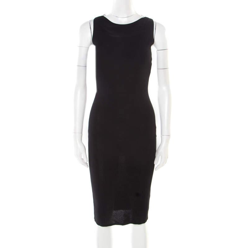 Valentino Black Stretch Knit Sleeveless Lace Insert Bodycon Dress M
