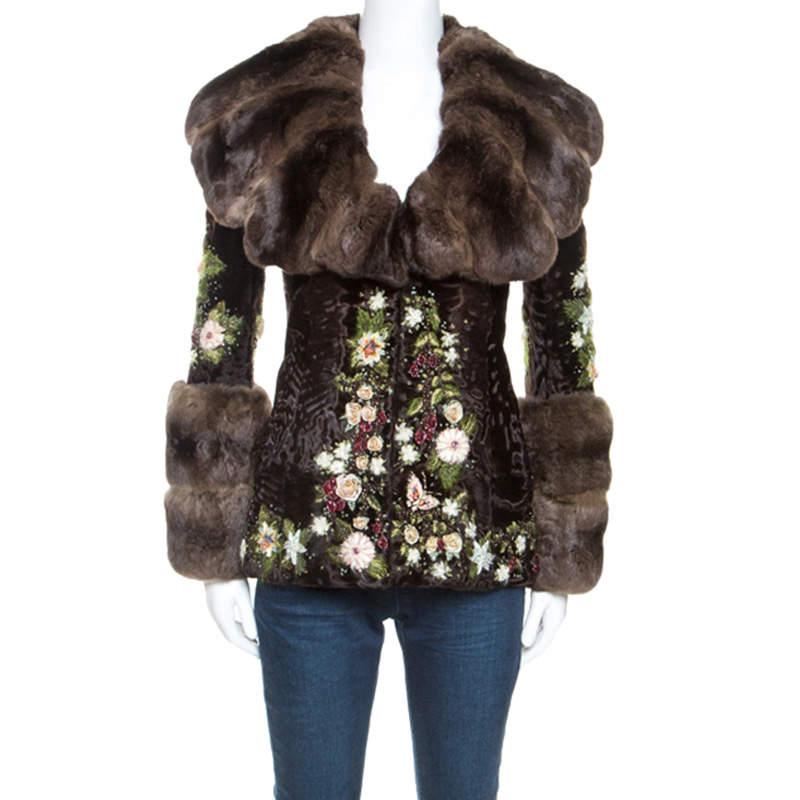 Valentino Brown Chinchilla Embellished Detail Fur Jacket S