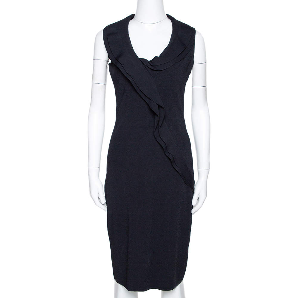 Valentino Black Knit Ruffled Sleeveless Dress M