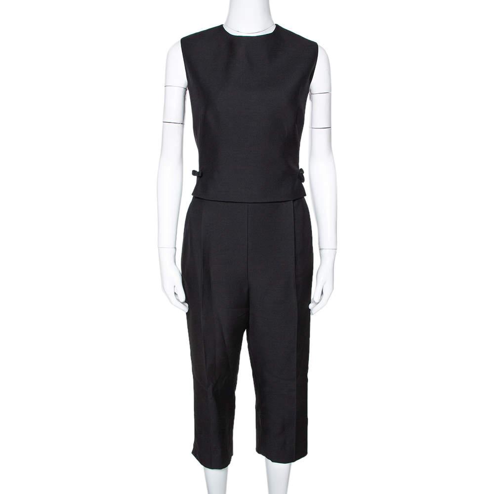 Valentino Black Wool & Silk Blend Open Back Jumpsuit L