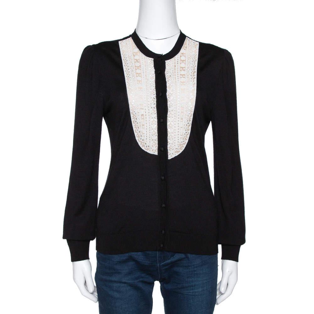 Valentino Black Silk Wool Blend Embellished Yoke Cardigan L