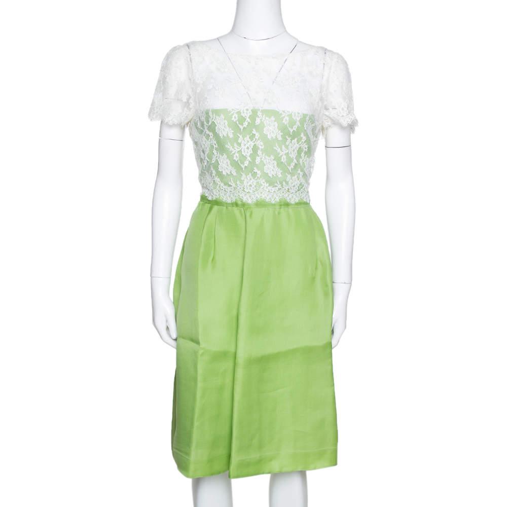 Valentino Lime Green Silk Contrast Lace Detail Sheath Dress L