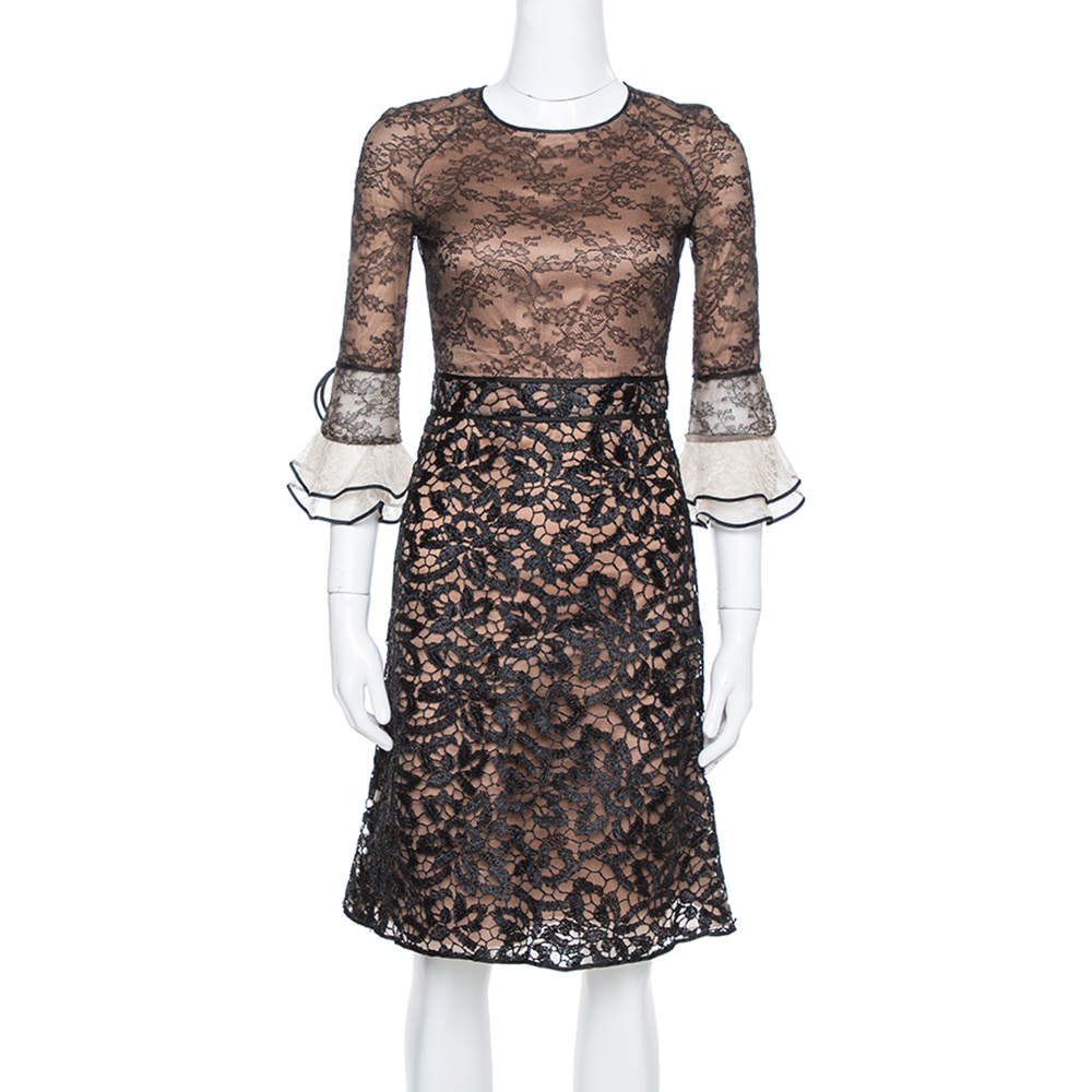 Valentino Black Lace Overlay Flute Sleeve Midi Dress S