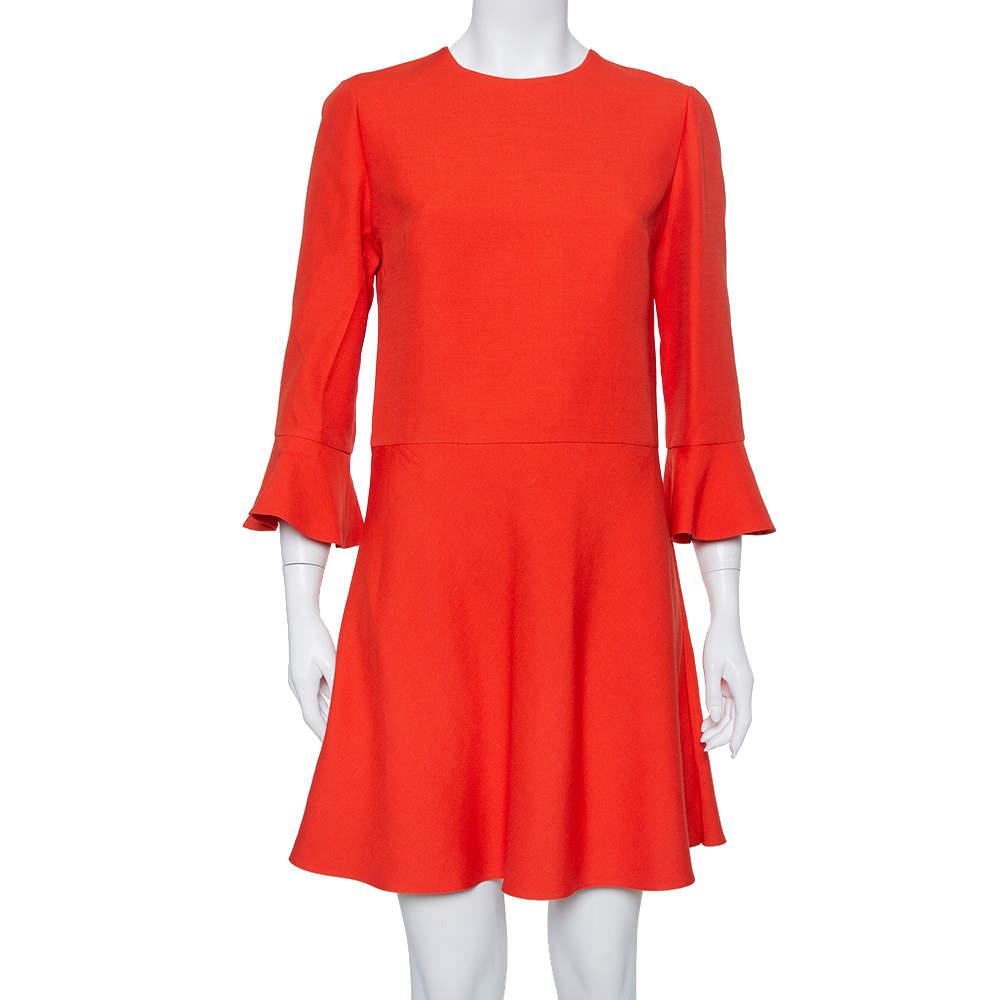 Valentino Burnt Orange Cotton Drop Waist Flared Dress L