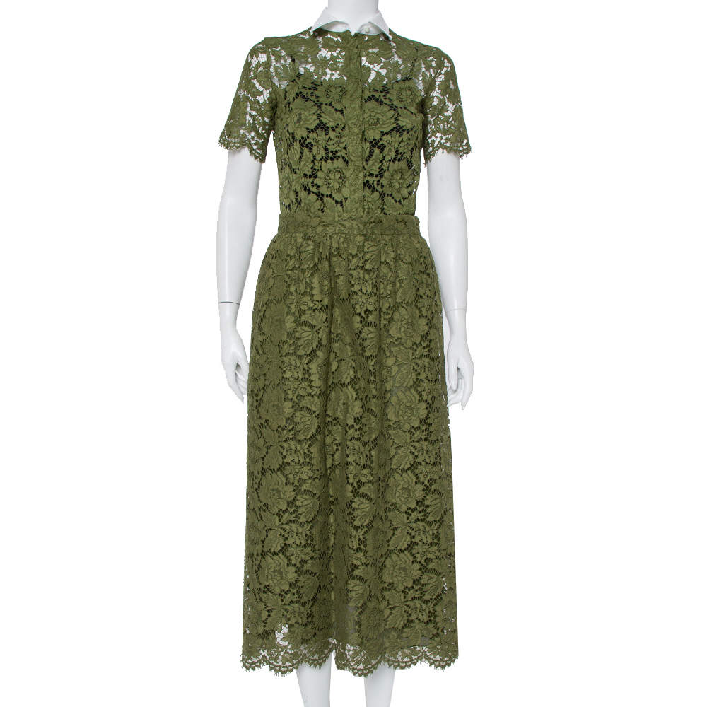 Valentino Green Lace Button Front Shirt & Midi Skirt Set S