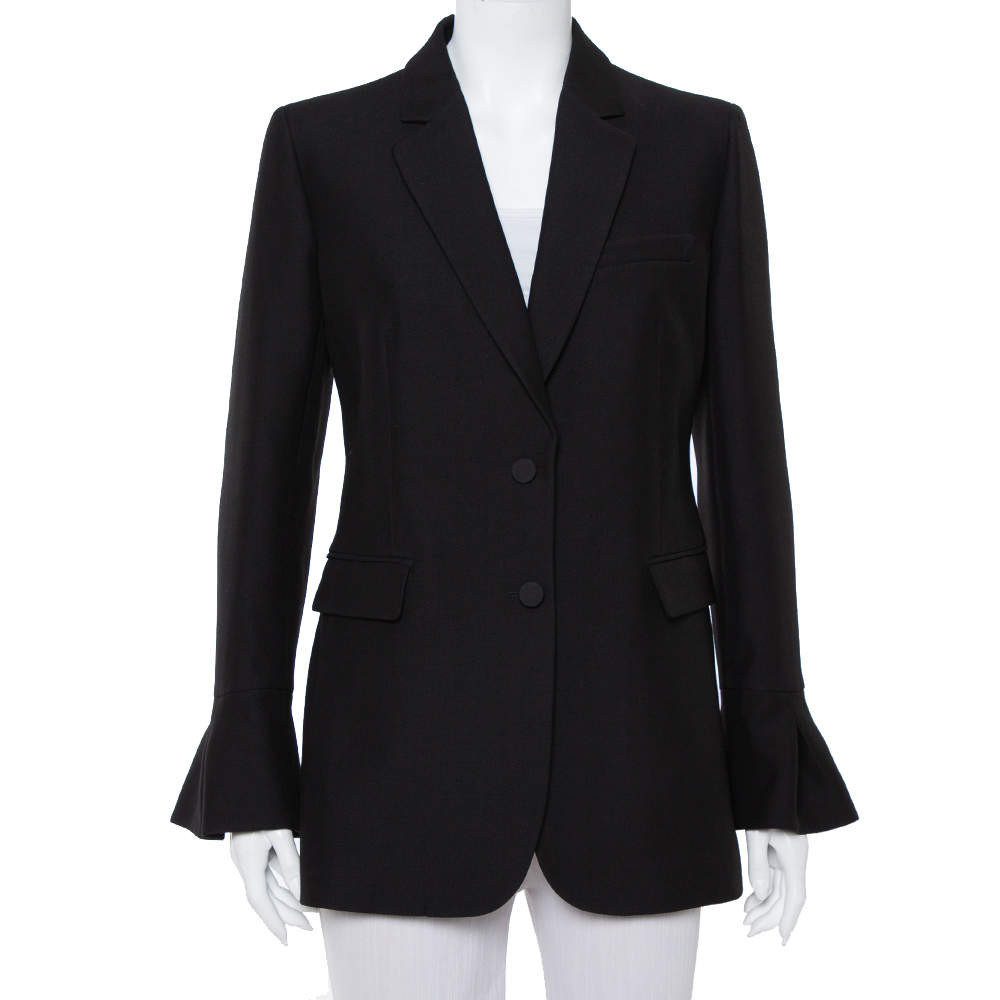 Valentino Black Wool & Silk Flute Sleeve Cuff Detail Blazer M
